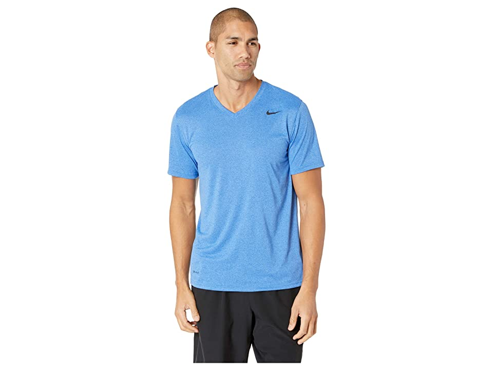 Nike Legend 2.0 Short Sleeve V-Neck Tee (Light Game Royal Heather/Black) Men