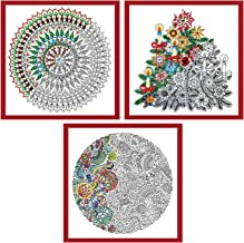 Design Works - Christmas Zenbroidery Stamped Embroidery: 3 Designs: Tree, Mandala, Ornaments, 10-inch by 10-inch Each and 3 Gift Cards
