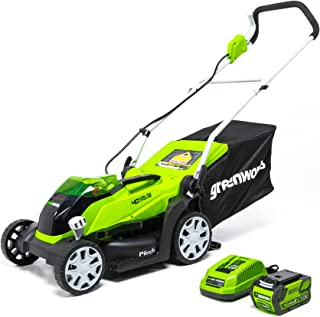 Greenworks 14-Inch 40V Cordless Lawn Mower, 4.0 AH Battery Included MO40B410