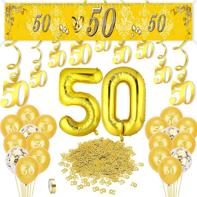 HOWAF 50 Aniversario de Bodas de Oro Decoración, 50 Aniversario de Bodas de Oro Globos Pancartas, 50 Número Aluminio Globos Confeti Remolinos Colgantes Decoración para 50 Años Cumpleaño