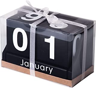 Decorative Desk Calendar - Wooden Block Perpetual Month and Days Calendar (Black with White Letters)