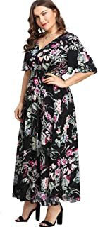 Milumia Plus Size Button up Dress Short Sleeves Floral Maxi Dresses Boho Fit Flare A Line Dress