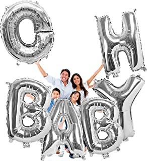 Treasures Gifted Huge Silver Oh Baby Letters Balloons 40 Inch Foil Mylar Banner for Gender Reveal Party Baby Shower Birthday Decorations