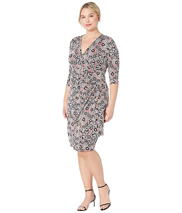 Kiyonna Ciara Cinch Dress (Stencil Floral Print) Women's Dress