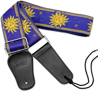 BestSounds Guitar Strap Sun Jacquard Weave Strap With Genuine Leather Ends Guitar Shoulder Strap for Bass, Acoustic, Classical & Electric Guitar (Blue)