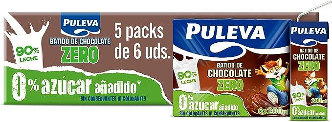 Puleva Batido de Chocolate Sin Lactosa - Caja con 5 packs con 6 minibriks de 200ml