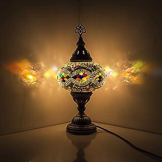 Hecho a mano de plata turca marroquí árabe oriental de Tiffany estilo mosaico de vidrio hermosa mesa lámpara de escritorio lámparas de decoración del hogar