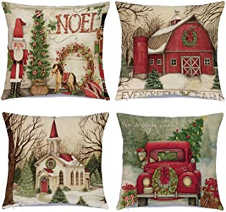 Best Hlonon Christmas Decorations Christmas Pillow Covers 18 x 18 Inches Set of 4 - Xmas Series Cushion Pillow Cover Custom Zippered Square Pillowcase Review