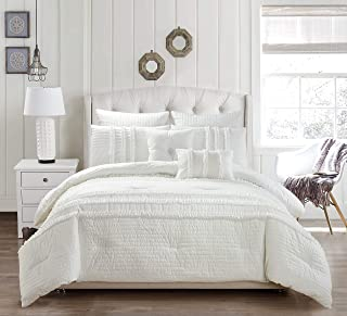 kensie Chartreux Ruffled Comforter Set, Full/Queen, White