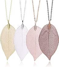 Leaf Long Pendant Necklace Handmade Trendy Filigree Bohemian Jewelry for Women