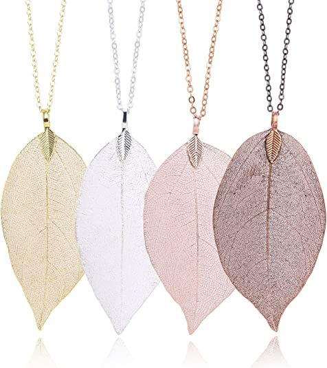 Leaf Pendant Necklace and Leaf Earrings Jewelry Set Real Natural Leaf Long Necklaces Fashion Christmas Gifts for Women Grils