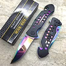 tac force spring assisted knife rainbow