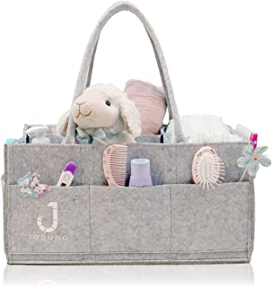 Joouno Baby Diaper Caddy Organizer - Large Size, Removable Handles, More Dividers - Portable Storage Tote Bag for Nursery, Changing Table, Car Travel - Baby Shower Registry Gift Must Haves
