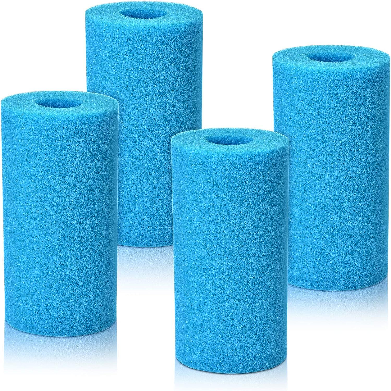 KATELUO 4 Piezas Esponja para Filtro de Piscina para Tipo A, Filtro de Cartucho de Esponja, Filtros de Piscina de Espuma, Esponja de Filtro de Piscina para Piscina SPA Jacuzzi, Reutilizable, Lavable