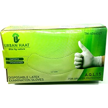 URBAN HAAT Jaipuri Disposable Latex Medical Examination Gloves, Medium -Set of 100 Pieces