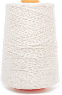 Linen Yarn Cone - 100% Flax Linen - 1 LBS - Bright White - 3 PLY - Sewing Weaving Crochet Embroidering - 3.000 Yards - One...