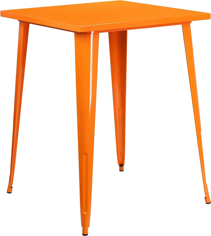 Flash Furniture Square Bar Height Metal Indoor-Outdoor Table, orange, 31.5-Inch