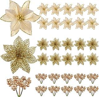 TUPARKA Christmas Poinsettia Glitter Artificial Christmas Flowers for Christmas Tree Ornaments, Xmas Christmas Wreaths Gar...