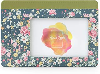 Rose Lake Slim Minimalist Leather Wallet RFID Blocking Front Pocket Business Credit Card Holder Case Gifts for Women Girls...