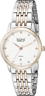 Burgi Women's BUR146TTR Silver and Rose Gold Quartz Watch With Diamond Dial And Two Tone Bracelet
