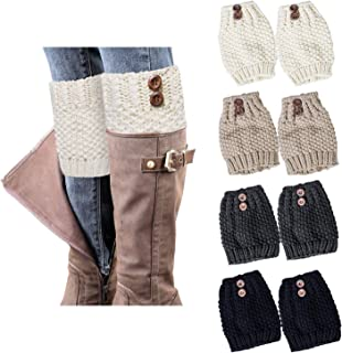 Loritta 4 Pairs Womens Boot Socks Winter Warm Crochet Knitted Boot Cuffs Topper Socks Short Leg Warmers Gifts