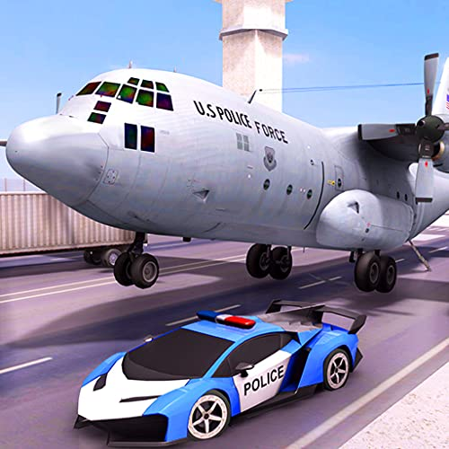 US Police Transporter Plane Simulator: Car & Bike Transport Adventure