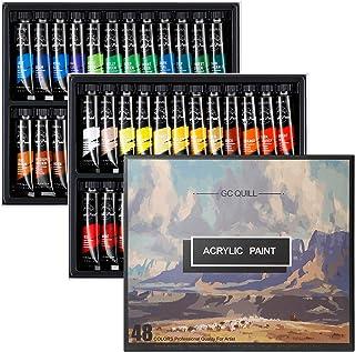 Kit de Peintures Acryliques - 48 Couleurs/tubes 12ML- non décolorant, non toxique, idéal pour la toile et l'artisanat, Pei...