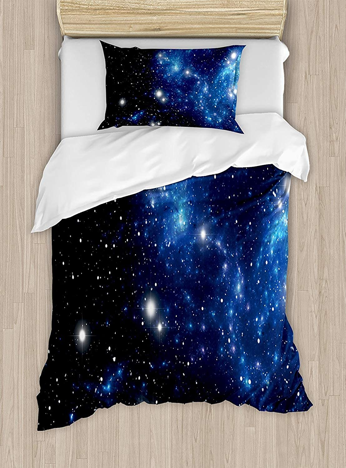 VpinkLV-HOME Constellation Duvet Cover Set Twin Size Outer Space Star Nebula Astral Cluster Astronomy Theme Galaxy Mystery Picture,Bedding Set for Teen 2Pcs,bluee Black White