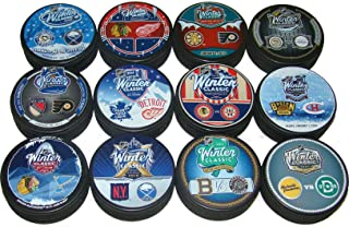 All 12 NHL Winter Classic Sherwood Inglasco Dueling Souvenir Hockey Puck Set