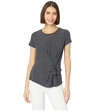 Vince Camuto Short Sleeve Serene Stripe Side Knot Tee (Classic Navy) Women