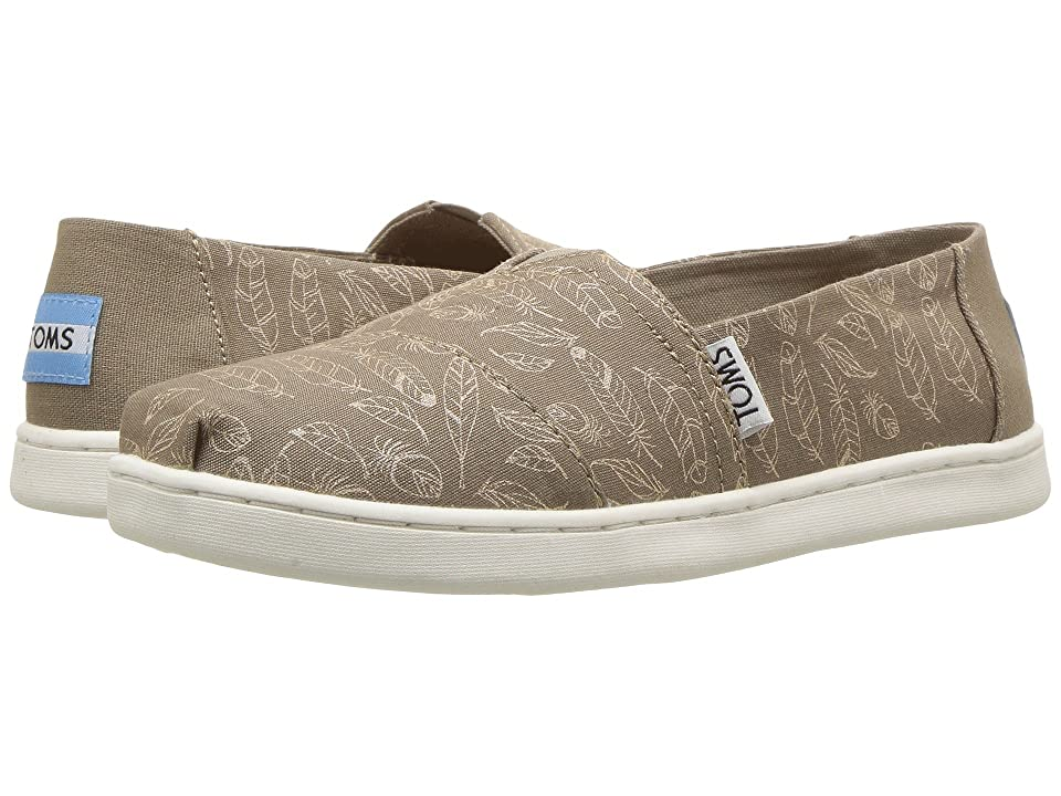 TOMS Kids Alpargata (Little Kid/Big Kid) (Desert Taupe Foil Feathers) Girl