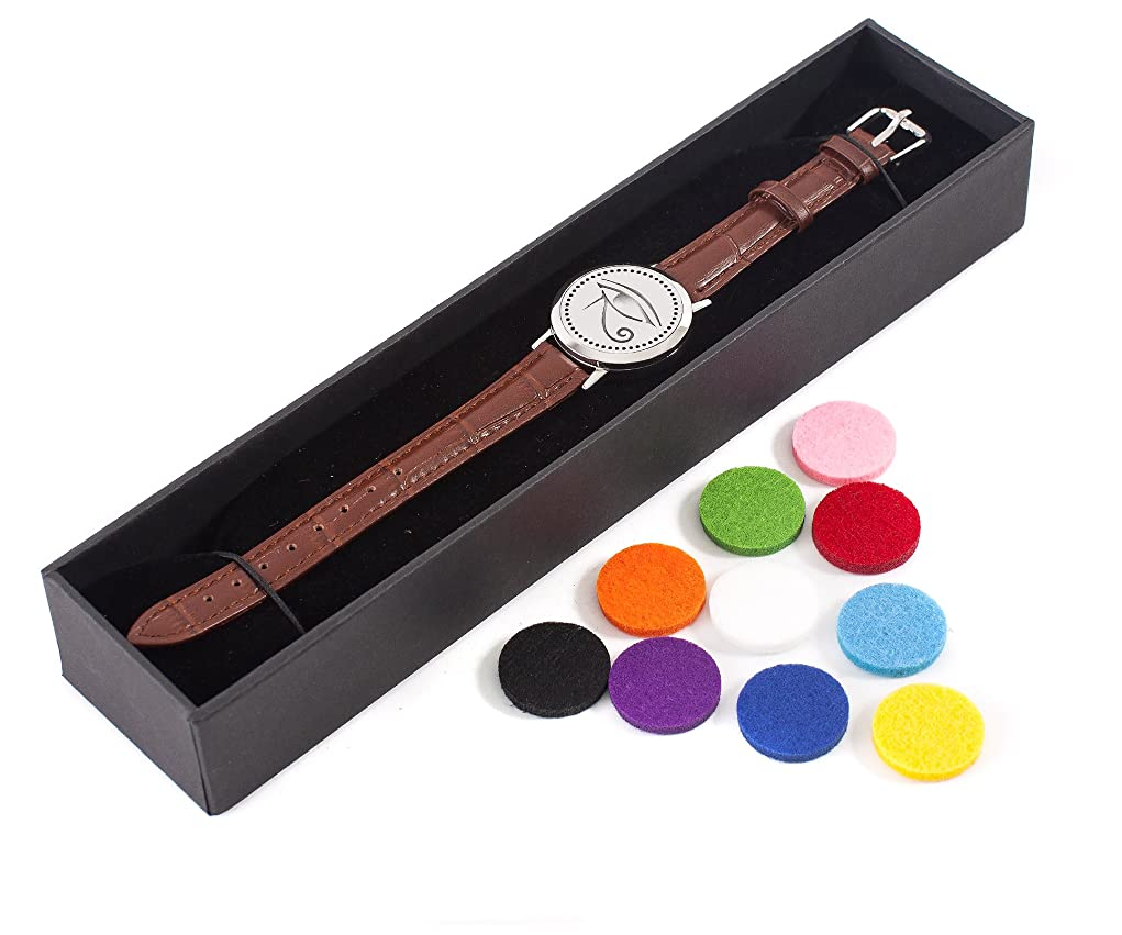 剣相手香りMystic Moments | Eye of Horus | Aromatherapy Oil Diffuser Bracelet with Adjustable Brown Leather Strap