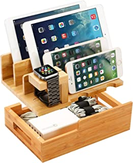 Charging Station for Multiple Devices Wood Dock Organizer Charging Station for Apple Watch, iPhone, iPad, Universal Mobile Phones and Tablets, Compatible with Anker RAVpower 4/5/6-Port USB Chagrer