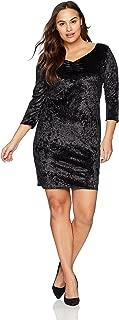 Women's Plus-Size 3/4 SLV Pinch Vfrt Str Velvet Bodycon Dress