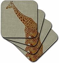 3dRose CST_45324_2 Gentle Giraffe Animals Nature Soft Coasters, Set of 8
