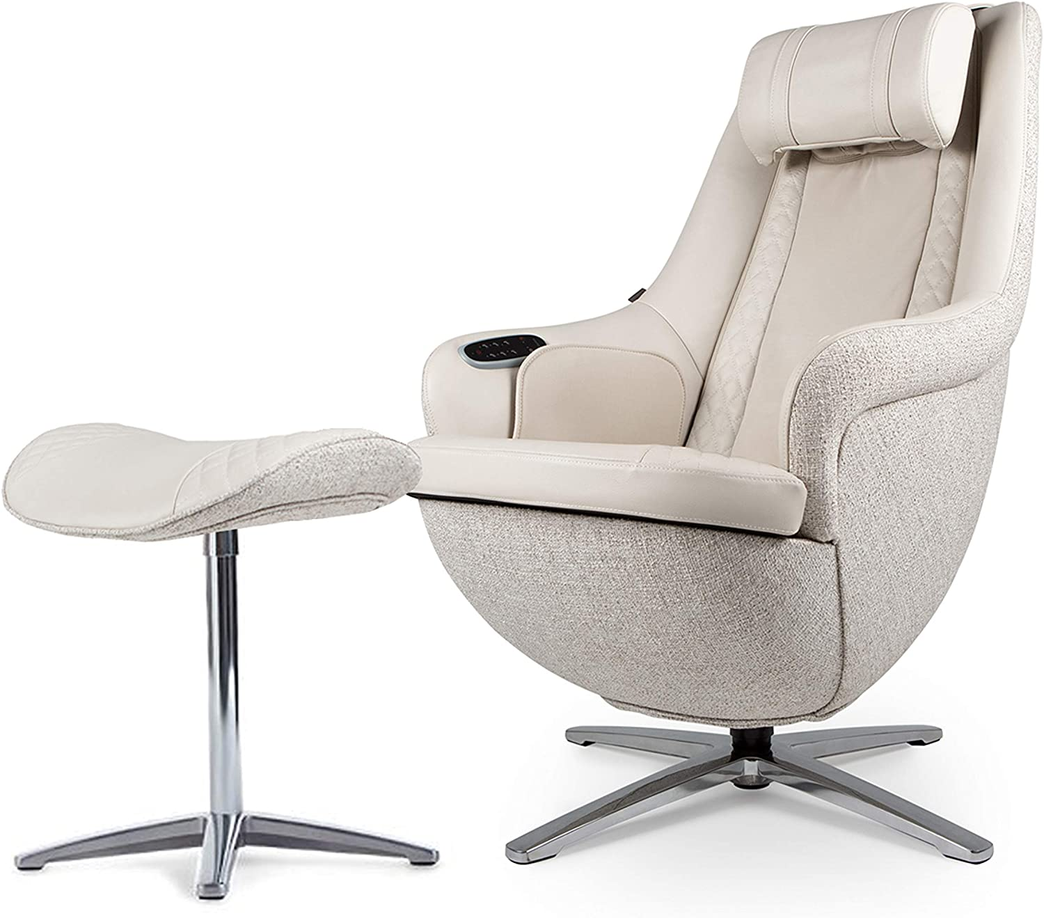 Nouhaus Modern Massage Chair with Ottoman. White Leather Chair, Recliner Chair Shiatsu Massager and Massage Chair with Heat. Head to Butt, Full Body Massager and Comfy Lounge Chair: Furniture & Decor