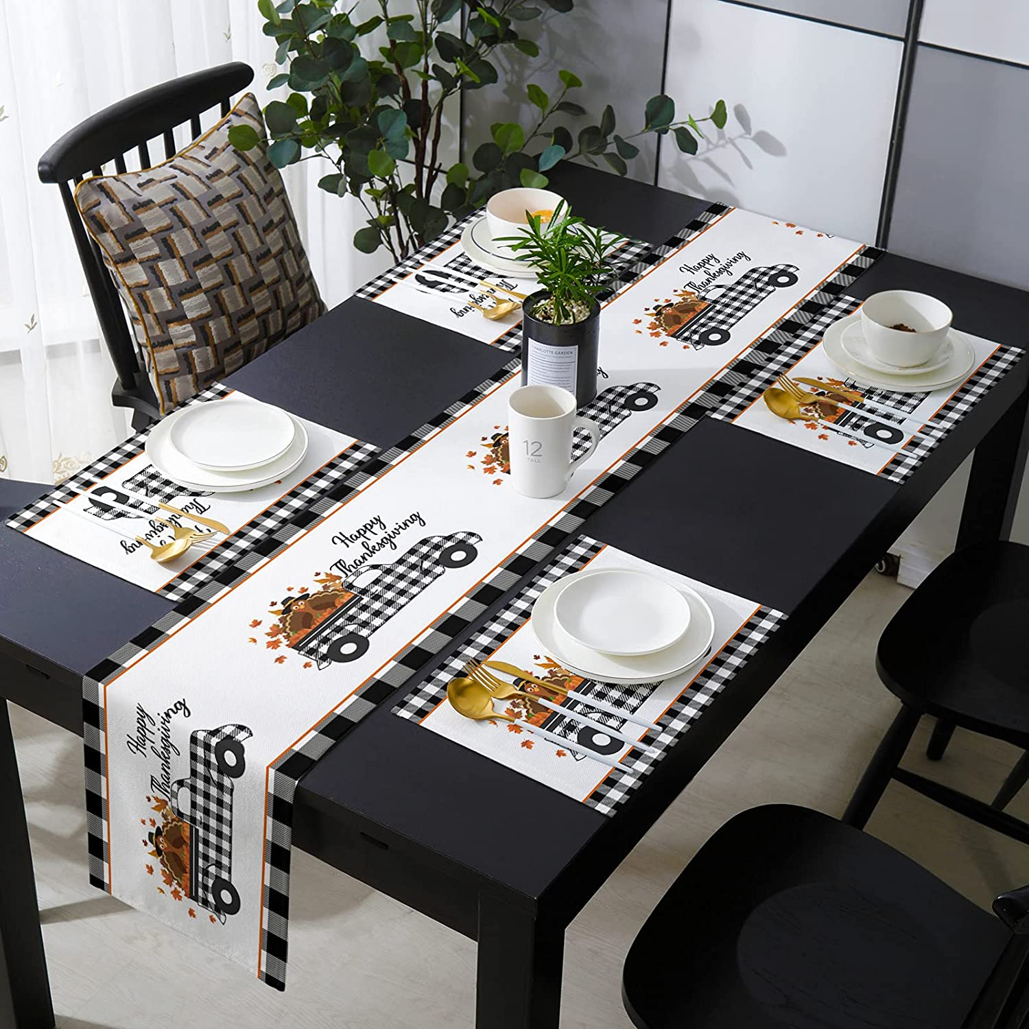 4 Placemats with Matching Thanksgiving Oklahoma City Tucson Mall Mall Table 13x90Inches Runner
