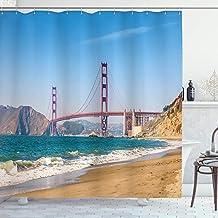 Apartment Decor Shower Curtain Set, Panoramic View of Golden Gate Bridge San Francisco With Coastline Nature Seascape, Bat...