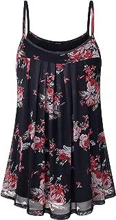 Lotusmile Women's Summer Cool Casual Sleeveless Pleated Chiffon Layered Cami Tank Top