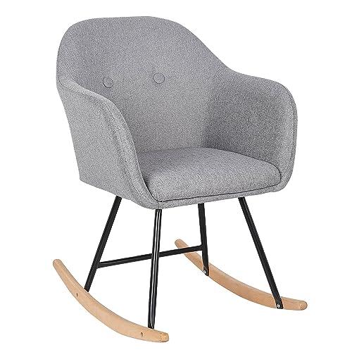 WOLTU® SKS04hgr Chaise à Bascule Pieds en Acier Fauteuil à Bascule Assise en Lin,Gris Clair