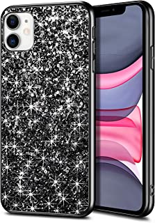 WOLLONY Case for iPhone 11 Case Glitter Sparkle Bling Shiny Phone Case for Girl Ultra Slim Durable Hybrid TPU Shockproof Bumper Hard Anti-Slip Back Protective Cover for iPhone 11 6.1inch Black