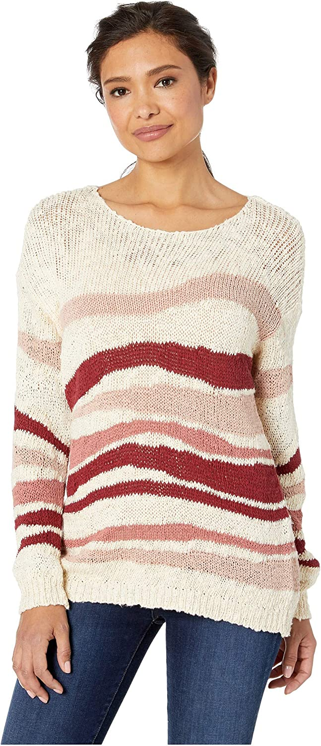 Two by Vince Camuto Long Sleeve Variegated Jersey Stripes Sweater Sand Drift XL (16)