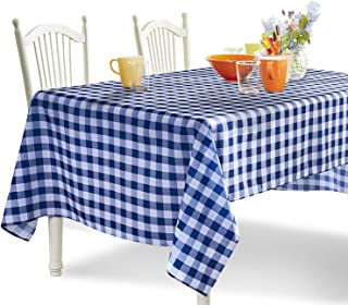 YEMYHOM 100% Polyester Spillproof Tablecloths for Rectangle Tables 60 x 84 Inch Indoor Outdoor Camping Picnic Rectangular Table Cloth (Dark Blue and White Checkered)