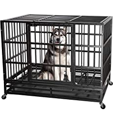 ITORI 48'' Heavy Duty Metal Dog Cage Kennel Crate and Playpen for Training Large Dog Indoor Outdoor with Double Doors & Locks Design Included Lockable Wheels Removable Tray(42in 48in) (48 in, Black)