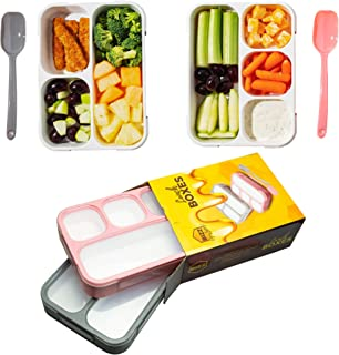 Bizz Bento Lunch Boxes with Spoon (2-Pack) 3 and 4-Compartment Leakproof Food Storage Container, Work, Home, School, Meal Prep, Portion Control, Dry or Liquid, Men, Women, Kids