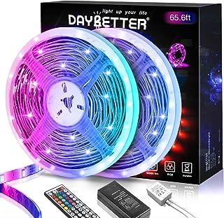 DAYBETTER 65.6ft Led Strip Lights, Lights Strip for Bedroom, Color Changing 5050 RGB Lights, 2 Rolls of 32.8ft LED Lights ...