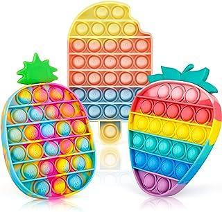 iTechjoy Pop It It Fidget Toys 3 Pack برای کودکان و بزرگسالان ، Push Pop Bubble Sensory Fidget اسباب بازی برای اوتیسم ADHD برای تسکین استرس ، بستنی بزرگ رنگین کمان