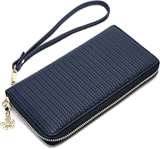 Women's Wallet With Wrist Strap Bifold RFID Blocking Cell Phone Wristlet Clutch Long Purse Zipper Closure (Navy blue)