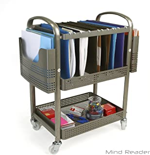 Mind Reader Heavy Duty Metal Mobile File Cart, Silver, MFILEC