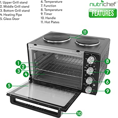 30 Quarts Kitchen Convection Oven - 1400 Watt Countertop Turbo, Rotisserie Roaster Cooker with Grill, Griddle Top Rack, Dual